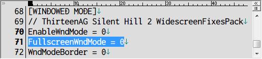SILENT HILL 2 Enhanced Edition インストール方法と日本語化メモ、Silent Hill 2 Enhancement Module の d3d8.ini ファイルに記述されている FullscreenWndMode でフルスクリーンウィンドウモードへ切り替え可、初期値は 0(無効)