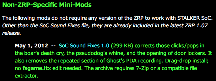 S.T.A.L.K.E.R.: Shadow of Chernobyl - Non-ZRP-Specific Mini-Mods、SoC Sound Fixes 1.0 ダウンロード、一部のサウンドバグ(一部モンスターの効果音、ドア音、Ghost の PDA 録音ループ再生)を修正