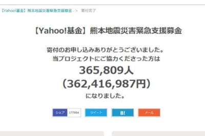 熊本地震災害支援募金/Yahoo!