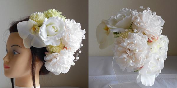 結婚式髪飾り・大輪芍薬と胡蝶蘭でみやび