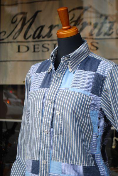 MFS-2102 ストライプパッチワークモトシャツ