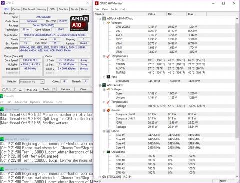 A10-7860K 2.50GHz/1.25V Load (2016年10月9日)