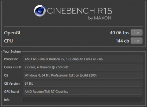 A10-7860K 2.50GHz/1.25V Cinebench R15 (2016年10月9日)