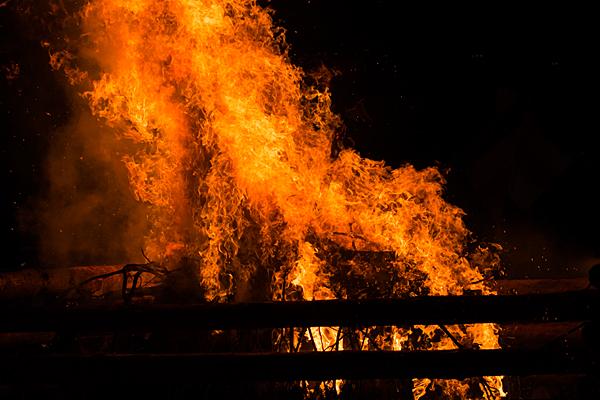 千燈祭護摩壇の炎