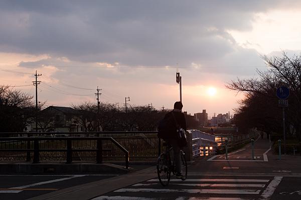 自転車高校生と夕陽