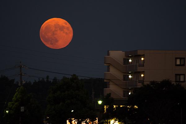 登り始めて間もない赤い満月