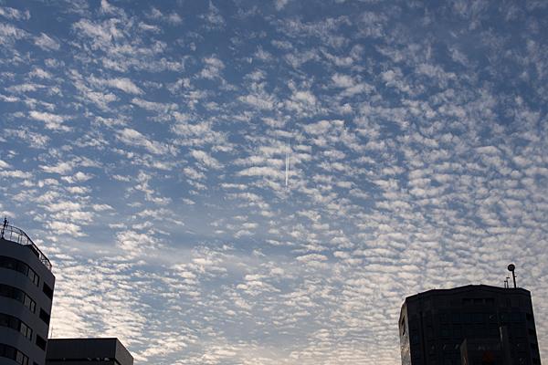 うろこ雲と飛行機雲