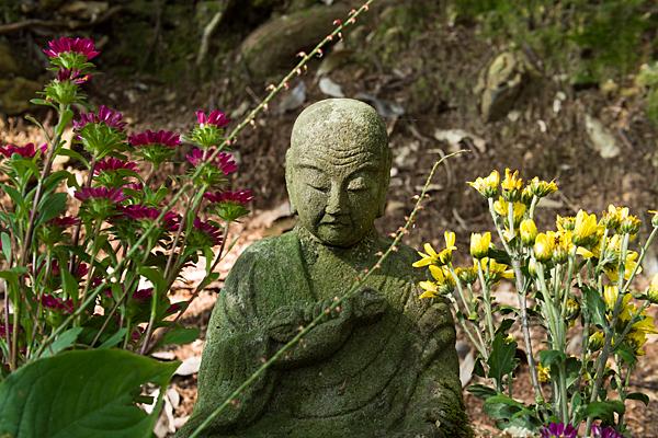 花が供えられた石仏