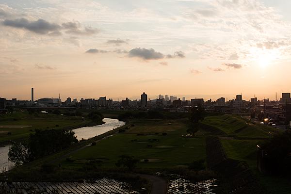 大森橋からの見る夕焼け風景