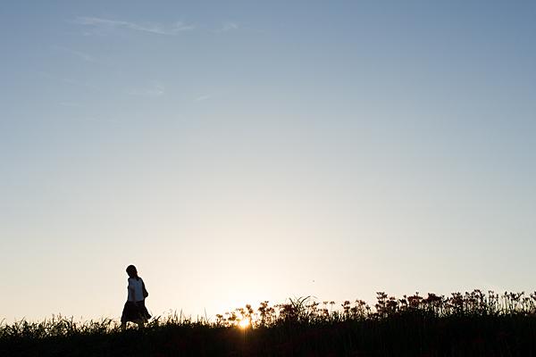 日没間近の土手