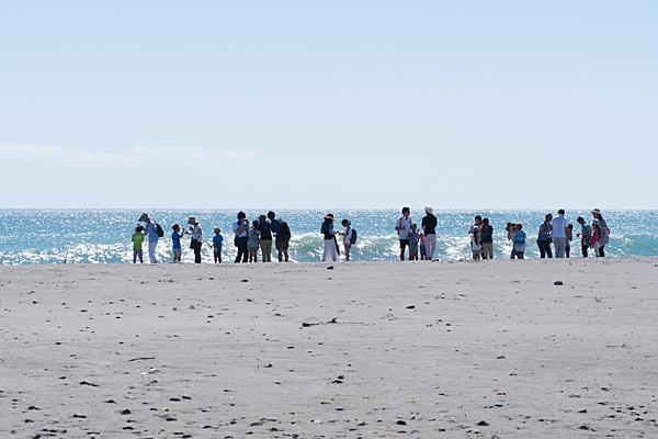 砂丘を訪れる家族たち