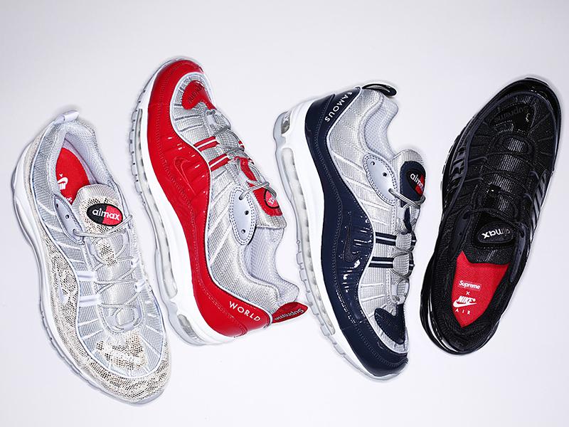 直リンク Supreme x Nike Air Max 98 黒 844694-001 紺 844694-400 赤 844694-600 蛇  844694-100 4月30日発売 c8ec81234