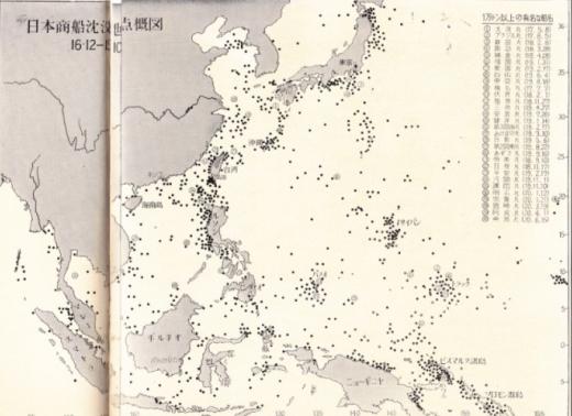 日本商船沈没地点概図