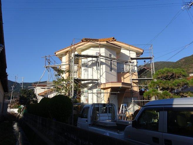 K邸外壁塗装~仕上げ中