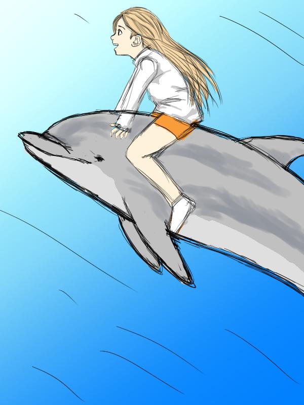 イルカに乗った少女