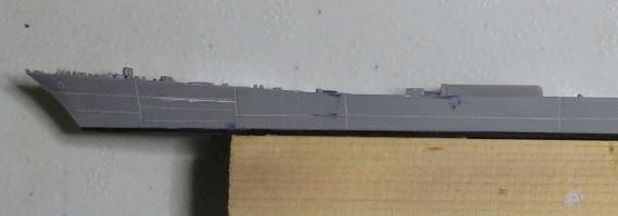 筋彫り艦首方向