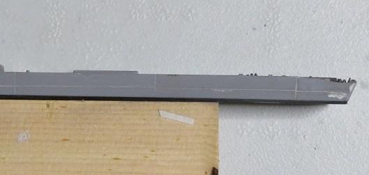 筋彫り艦尾方向